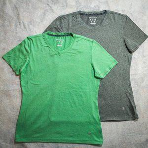 Lot of 2 Champion Soft V-Neck Shirts, Gray & Green